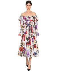 50586cfea3fe Dolce   Gabbana - Abito In Popeline Di Cotone Con Ruches - Lyst