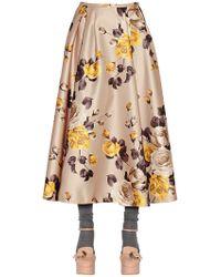 Rochas - Printed Duchesse Midi Skirt - Lyst