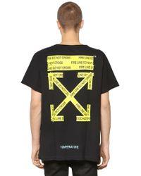 Off-White c/o Virgil Abloh - Oversize Fire Line Tape Jersey T-shirt - Lyst