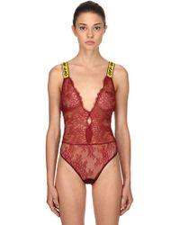 Off-White c/o Virgil Abloh - Logo Straps Lace Bodysuit - Lyst
