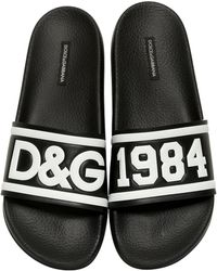 Dolce & Gabbana - D&g Rubberized Leather Slide Sandals - Lyst