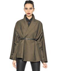 Jean Paul Gaultier - Belted Wool Blend Taffeta Coat - Lyst