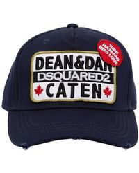 Lyst - Dsquared² Caten Patch Canvas Baseball Hat in Black for Men bb711b56ba6e