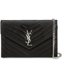 Saint Laurent - Quilted Monogram Grained Leather Bag - Lyst