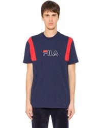 Fila - Logo Embroidered Cotton Jersey T-shirt - Lyst