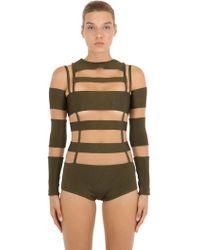 Balmain - Cutout Tulle & Milano Jersey Bodysuit - Lyst