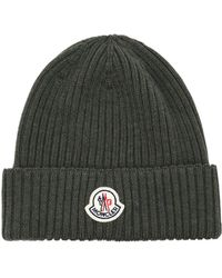 6cf45ea91137e Lyst - Moncler Ribbed-knit Beanie Hat in Gray for Men