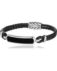 David Yurman - Bar Station Leather Silver Bracelet - Lyst