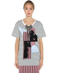 Antonio Marras - Embellished Patch Striped Jersey T-shirt - Lyst