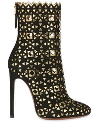 Alaïa - 115mm Suede Boots With Mirror Details - Lyst