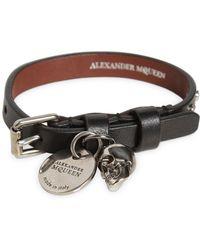 Alexander McQueen - Bracciale In Pelle Con Borchie - Lyst