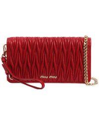 d6f8f8c82372 Lyst - Miu Miu Mini Quilted Leather Shoulder Bag in Red