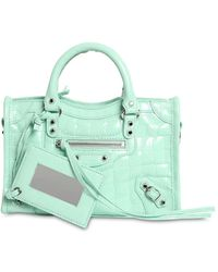 Balenciaga Nano City Croc Embossed Leather Bag - Green