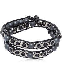 Colana - Lava & Hematite Beads Wrap Bracelet - Lyst