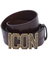 DSquared² - 40mm Icon Buckle Leather Belt - Lyst