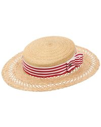 Kreisi Couture - Eli Straw Boater Hat - Lyst