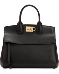 Ferragamo - Medium The Studio Leather Top Handle Bag - Lyst