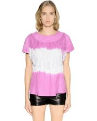 DROMe - Tie Dyed & Fringed Nappa Leather Top - Lyst