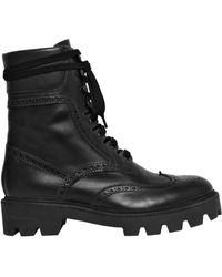 Mulberry - 30mm Brogue Leather Combat Boots - Lyst