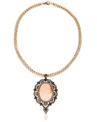 Alcozer & J - Cameo Pearl Necklace - Lyst