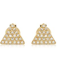 EF Collection - Triangle Diamond Stud Earrings - Lyst