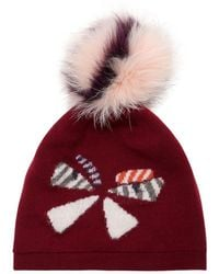 6c49d626ef2 Lyst - Fendi Wool Hat W  Fox Fur Pompom in Red