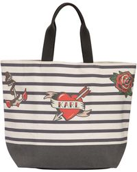 Karl Lagerfeld - Captain Karl Cotton Canvas Tote Bag - Lyst
