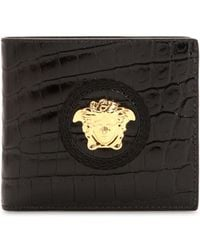 Versace - Medusa Croc Embossed Leather Coin Wallet - Lyst