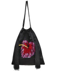 Attico - Sequined Flower Satin Drawstring Pouch - Lyst