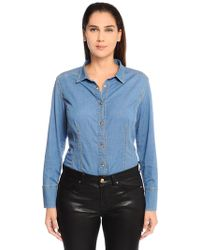 Marina Rinaldi - Cotton Denim Shirt W/ Grosgrain Bow - Lyst