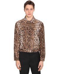 Versace Camisa con estampado de leopardo - Marrón