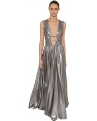 Alberta Ferretti - Gathered Silk & Lamè Long Dress - Lyst
