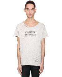 Garçons Infideles Logo Printed Distressed Jersey T-shirt