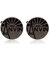 Lanvin - Engraved Enameled Brass Cufflinks - Lyst
