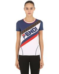 Fendi - Mania Logo Printed Lycra T-shirt - Lyst