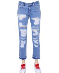Steve J & Yoni P - Destroyed Cotton Denim Jeans - Lyst