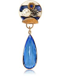 Sonia Boyajian Gypsy Zircon And Gold Plated Pin - Blue