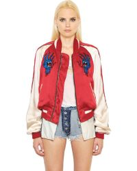 Unravel - Embroidered Silk Satin Bomber Jacket - Lyst