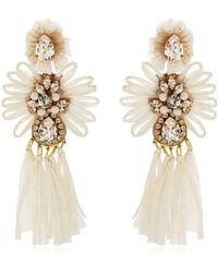 Shourouk - Sicily White Clip-on Earrings - Lyst