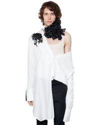 Ann Demeulemeester - Floral Embroidered Viscose Long Shirt - Lyst