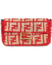 Fendi - Logo Embroidered Raffia Baguette Bag - Lyst