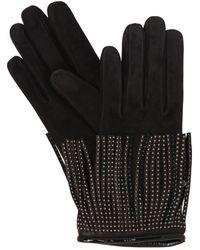 Mario Portolano - Suede & Cashmere Gloves W/ Studs - Lyst