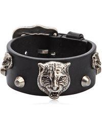 Gucci - Tiger Head Leather Bracelet - Lyst