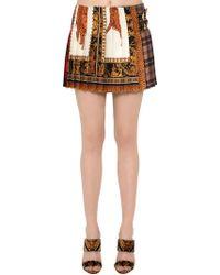 Versace - Patchwork Printed Silk Twill Kilt - Lyst