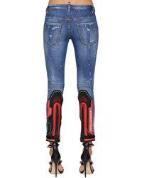 DSquared² Motocross Faded Wash Cotton Denim Jeans - Blue