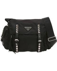 205e801fa713cd Prada - Nylon Shoulder Bag W/ Studded Straps - Lyst
