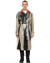 Maison Margiela Printed Pvc Double Breasted Trench Coat - Multicolor