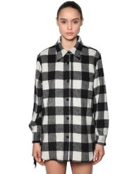 N°21 - Wool Check Shirt Jacket W/ Sequin Fringe - Lyst