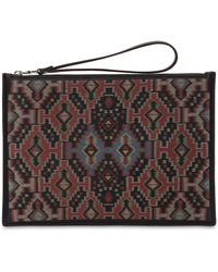 Etro - Printed Leather Pouch - Lyst