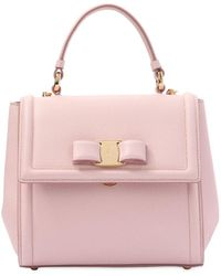 Ferragamo - Small Carry Leather Top Handle Bag - Lyst